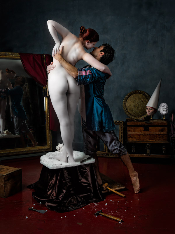 Pygmalion – a tribute to Jean Gerome, one of Derek's favourite old masters. Xevv McModel and Brandon Leudke – models, makeup/body paint by Aleta Eliasen, light consultant – Jon Hoadley.